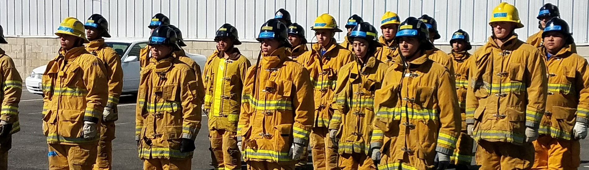 Firefighting Technology students in formation